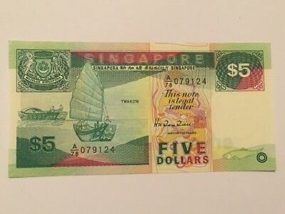 Singapore $5 Brunei Lion Ball Boat Unc Currency Money Bill Bank Note