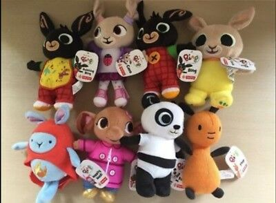 2x Bing, Charlie Bunny Coco Hoppity Voosh Flop Pando Sula Soft Toys Set of 8 NEW