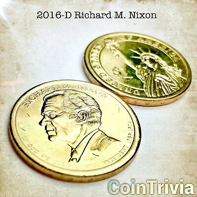 2016 D Richard Nixon Uncirculated US Presidential Golden Dollar Coin