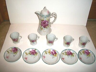 Nippon Hand Painted Chocolate Pot + 5 Cups And Saucers - No Chips - Cleaned