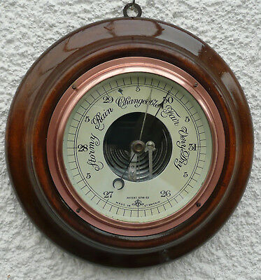 Rare antique vintage Barometer  on round wooden surround plaque wall mounted