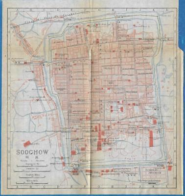 1915 IMPERIAL JAPANESE RAILWAY MAP of SOOCHOW CHINA