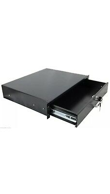 "2U Rack Mount DJ 19/"" Rack Case Equipment Deep Drawer 2 Space Locking Lockable"