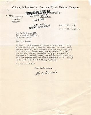 1955 Chicago Milwaukee St. Paul & Pacific Railroad Co Freight Meat Hormel Letter