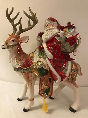Fitz and Floyd Cardinal Santa and Stag Centerpiece Figurine New In Box Gorgeous!