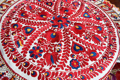 Antique Hand  Embroidered Unique Autentic Matyo Tablechlot  Round 86cm   33'8""