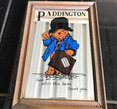 PADDINGTON BEAR Vintage 1970's Hanging Wall Mirror 26cm X 18cm
