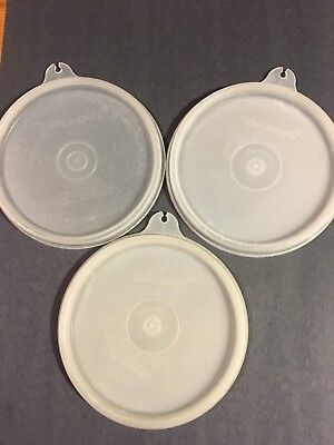 Vintage Tupperware Round A Tab Replacement Lids 215 Lot Of 3 Sheer