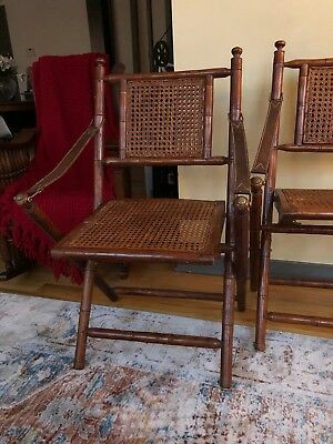vintage cane folding campaign chairs