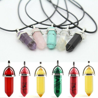 Natural Gemstones Hexagonal Pointed Reiki Healing Lucky Pendant Jewelry DIY Acc