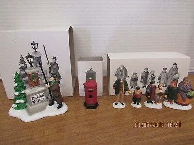 Dept 56 Carolers On The Doorstep & Ye Olde Lamplighter & A English Post Box