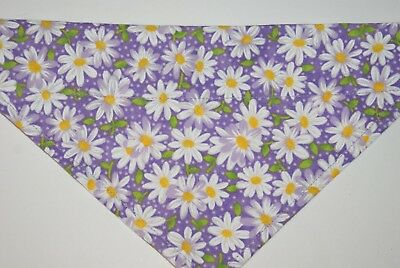 Dog Bandana, OVER THE COLLAR, pet, clothes, Size S,M,L,XL, Flowers on Purple!