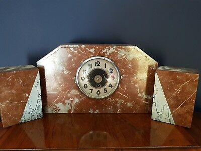 1920s ART DECO Marble Mantel Clock with GARNITURES
