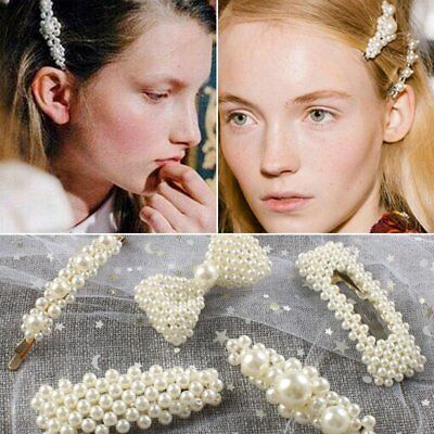 Fashion Women Girls Pearl Hair Clip Snap Barrette Stick Hairpin Hair Accessories