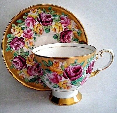 Tuscan Fine English Bone China Footed Teacup and Saucer Set Roses Heavy Gold