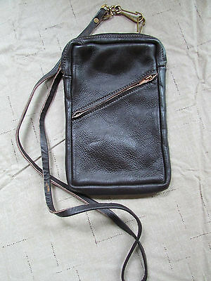 "Vintage Hand Made Leather Bag Crossbody Purse Pouch ""New Wineskins"" Chicago USA"