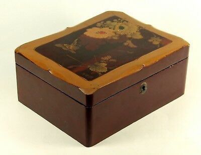 ! Antique FINE Meiji Japanese Lacquered Wood Jewelry Letter Box Hand Painted