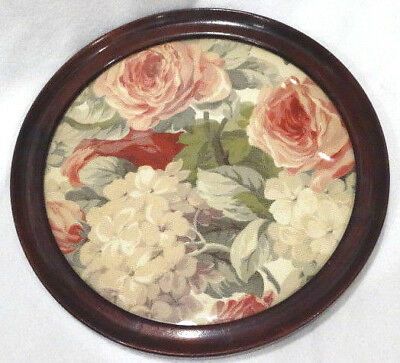"""Antique 12"""" Round Mahogany Framed Fabric Under Glass Tray or Wall Hanging"""