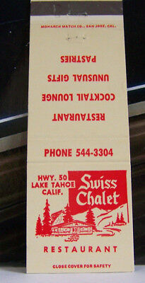 Rare Vintage Matchbook Cover O1 California Lake Tahoe Swiss Chalet Restaurant