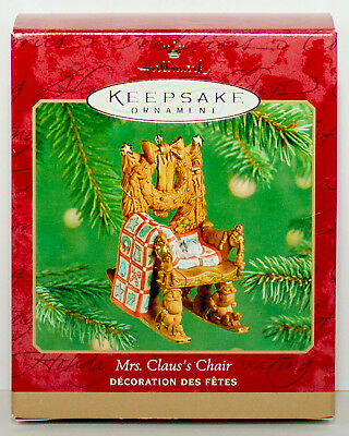 2001 MRS CLAUS'S CHAIR NEW Hallmark Ornament Claus Rocking Rocker Carved Look