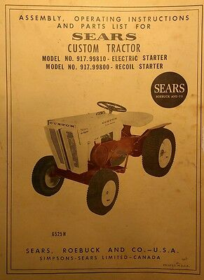 SEARS CUSTOM 6 Lawn Garden Tractor & Mower Deck Owner & Parts (2 Manuals)  34pg