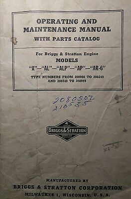 "Briggs & Stratton  model ""A"" Engine Owner, Parts, Service Repair Manual 42pg Gas"