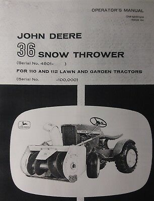 John Deere Lawn Garden Tractor 36 Snow Blower Owners Manual 110 112 Round Fender