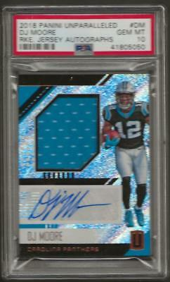 2018 Panini Unparalleled Jersey D.J. Moore RC ROOKIE AUTO PSA 10 0008