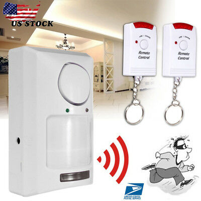 Wireless Pir Motion Sensor Alarm + 2 Remote Controls Shed Home Garage Caravan US