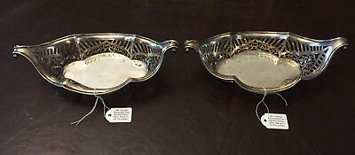Pair of Victorian Pierced Boat Form Bon Bon Nut Bowl Dishes Sterling Silver 170g