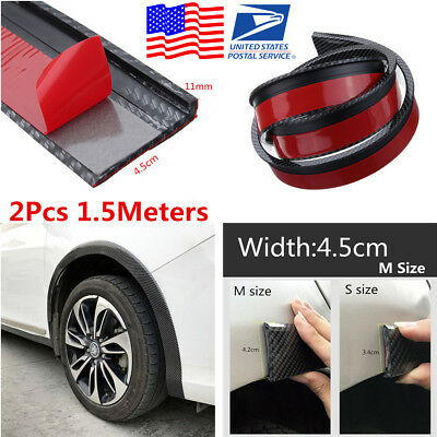 2Pcs 1.5M 4.5cm Widen Carbon Fiber Color Car Wheel Eyebrow Fender Flare Strips