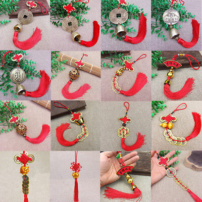 Lots Feng Shui Lucky Red Tassel Coins Chinese Hanging Charm Health Wealth