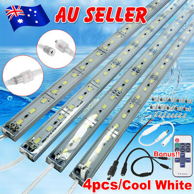 4X12V Waterproof 5630 Led Strip Lights Bars Cool White Camping Boat Car + Remote