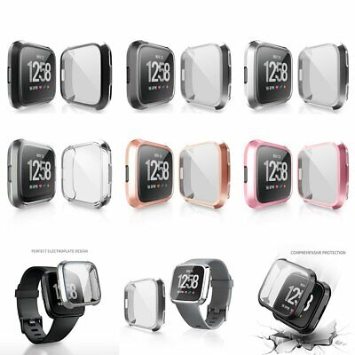 For Fitbit Versa Silicone TPU Shell Case Screen Protector Frame Cover HE