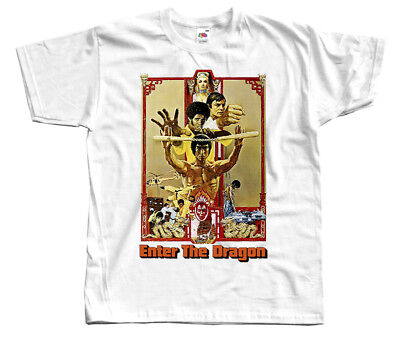Enter the Dragon, movie poster, Bruce Lee, DTG T SHIRT WHITE all sizes S-5XL