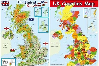 MAP OF UNITED KINGDOM + MAP OF UK COUNTIES - 2 posters / Educational / A2