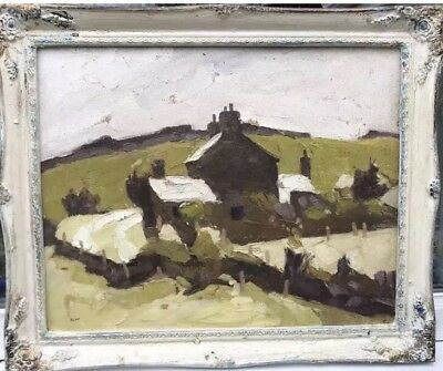 1960s WELSH / BRITISH IMPRESSIONIST OIL PAINTING OF VILLAGE IN WALES signed ?
