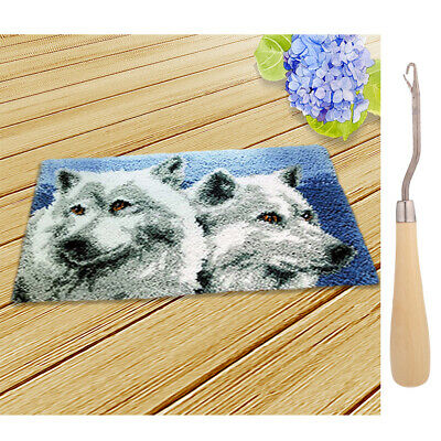DIY Two Wolf Latch Hook Rug Completed Kit for Teens With Wooden Crochet Hook