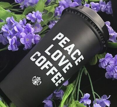 Starbucks Reusable To Go Cup Black 16oz BPA FREE 2018 Peace Love Valentines Gift