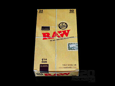 RAW 1.25 (1 1/4) Classic  Rolling Papers NEW  24 pack full box BEST PRICE
