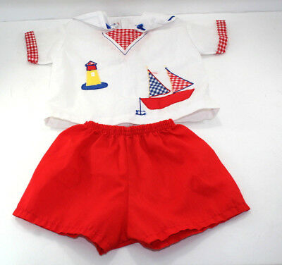 6e525056c Vintage Infant Mayfair Kids Sailboat Outfit White Shirt Red Shorts Size 6-12  Mos