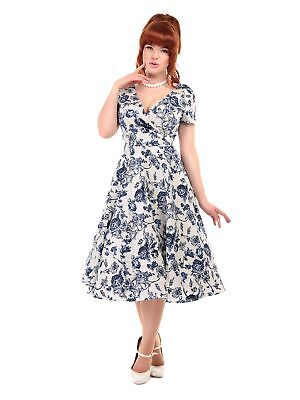 97dcc98a112f COLLECTIF VINTAGE NAVY Blue Maria Flared Dress Charming Bird Sz 8 ...
