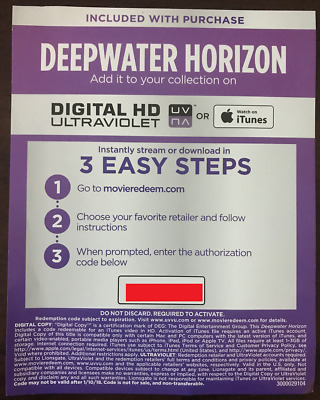 Digital Code for Deepwater Horizon from 4K UHD Box Set (CODE ONLY)