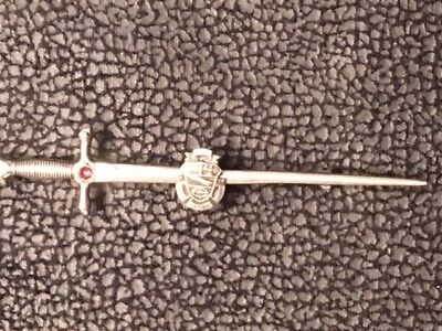 Antique Russian Sword Brooch Pin Sterling  Silver Cabochon ruby Shield vintage