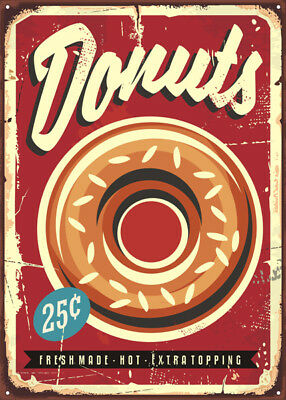 Donuts American Diner Metal Sign, Retro  Plaque, Fast Food, Cafe Bar, Cakes
