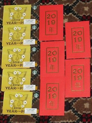 5 Starbucks Cards & 5 Envelopes Year of the Pig 2019 Chinese New Year NEW Mint