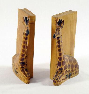 """Vintage Set of 2 Hand Carved Giraffe Bookends - 8"""" Tall - Primitive Art Bookends"""