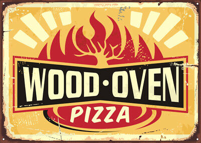 Wooden Pizza Oven, American Diner Metal Sign, Retro  Plaque, Fast Food, Cafe Bar