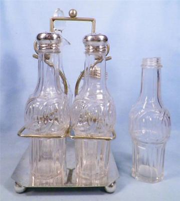 Victorian Silver Plate Castor Set 5 Glass Cruets Shakers Jar EPNS 2121 As Is
