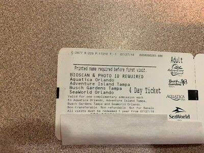 Searworld Orlando  & Busch Garden Tickets ( 4 parkTicket )